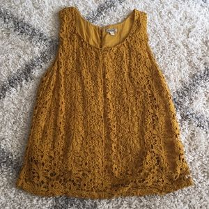 Lucky Brand sleeveless top with lace overlay